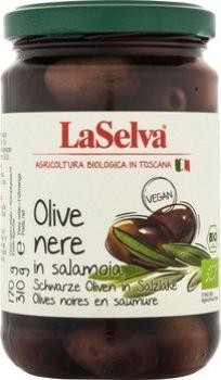 LASELVA BIO Oliven schwarz in Salzlake, 310g