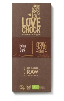 LOVECHOCK Kakao 93% Extra Dark Tafel Rohschokolade RAW 70g