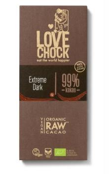 LOVECHOCK Extreme Dark 99 % Kakao Tafel Rohschokolade RAW 70g