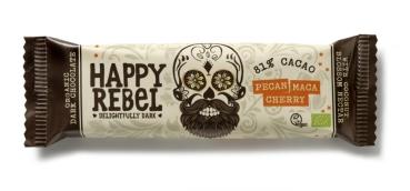 LOVECHOCK Happy Rebel Riegel 81% Cacao, Pecan Maca Cherry 38g