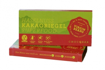 CHOCQLATE Superfood Kakaoriegel Haselnuss 35g