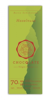 CHOCQLATE  Virgin Cacao Schokolade Haselnuss, 63% Kakao  75g