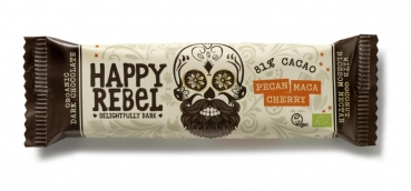 LOVECHOCK Happy Rebel Riegel 81% Cacao, Pecan Maca Cherry 38g